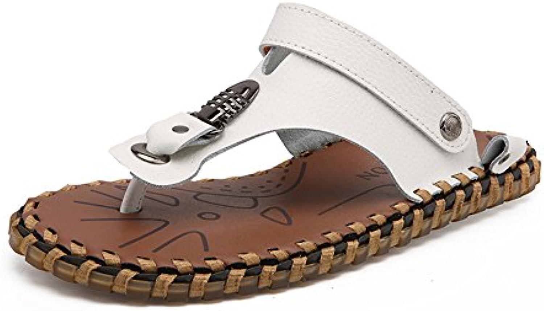 Sunny&Baby Chancletas para Hombre Zapatos de Cuero Genuino Pantuflas de Playa Sandalias Antideslizantes Diapositivas...