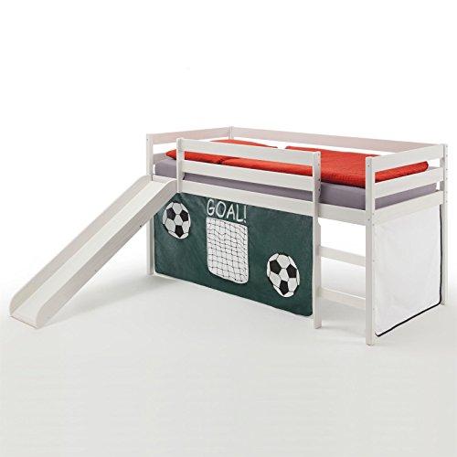 IDIMEX Spielbett Rutschbett Hochbett Benny, mit Rutsche in Kiefer massiv weiß, Vorhang in dunkelgrün mit Fußballmotiv, Liegefläche 90 x 200cm