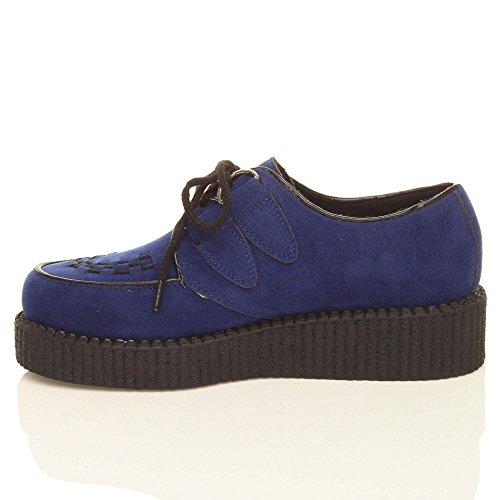 Scarpe da Donna Basse con Zeppa Plateau Design con Lacci Stile Gotico Punk Scamosciato blu marino