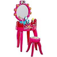 Theo Klein 5320 - Barbie Schönheitsstudio, Schminktisch in pink für Kinder, mit Hocker und Zubehör