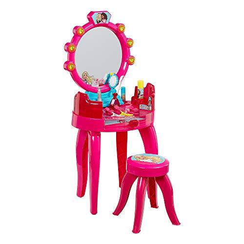 Theo Klein 5320 - Barbie Schönheitsstudio, Schminktisch in pink für Kinder, mit Hocker und Zubehör (Kleiner Schminktisch Mit Spiegel)