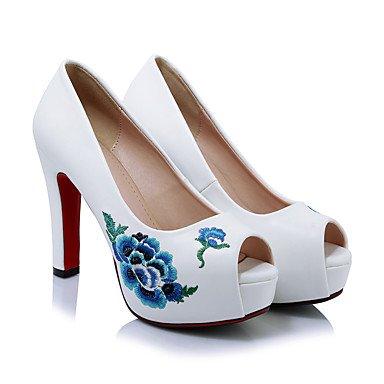 Talloni delle donne Primavera Estate Autunno Club scarpe in microfibra per ufficio Wedding & vestito da carriera tacco grosso Fiore Nero Rosso Bianco Black