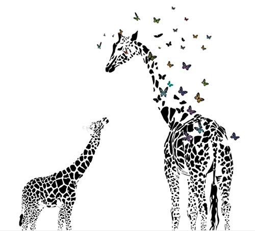 Giraffe Butterfly Silhouette Wall Sticker for Door Stairs Living Room Bedroom Decor Woman Teenager Baby Girl Boy Kids Children 115 * 130cm