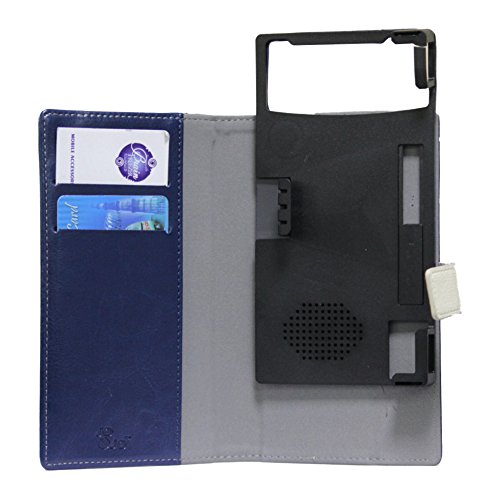 J Cover Saturn Series Leather Pouch Flip Case For Panasonic T30 Dark Blue White
