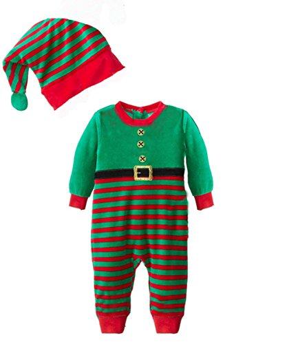 Weihnachtsmann Boy's Kostüm (Baby Kind Boy Weihnachten Sankt Schneemann-Kostüm Weihnachten Jumpsuits Outfit + Mütze Set (90cm,)
