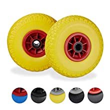 Relaxdays, Yellow-Red Hand Truck Spare Tyre Set of 2, Flatproof, 3.00-4 Solid Rubber, 25mm Axle, 80 kg, 260 x 85 mm