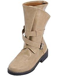 LuckyGirls Botas Militares de Media Caña para Mujer con Hebilla Moda Bota  Zapatos Calzado Zapatillas 83554deaa4109