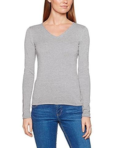 TOM TAILOR Damen Pullover Basic v-Neck Sweater Grau (Light Frost Grey 2640), 46 (Herstellergröße: XXXL)