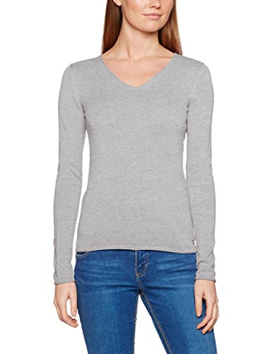 TOM TAILOR Damen Pullover Basic v-Neck Sweater, Grau (Light Frost Grey 2640), 36 (Herstellergröße: S)