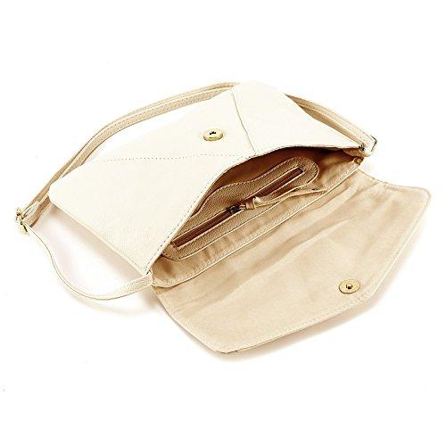 Kleine Schultertasche Kleine Damen Handtasche Umhaengetasche Damentasche PU Cream