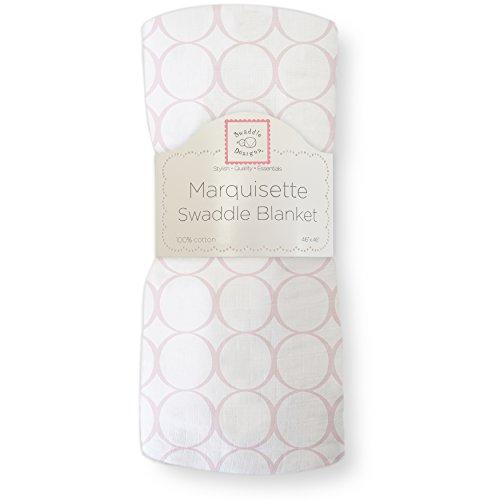 SwaddleDesigns Pucktuch aus Marquisette, Premium Baumwollmusselin, Poppige Kreise auf weißem Grund, Rosa