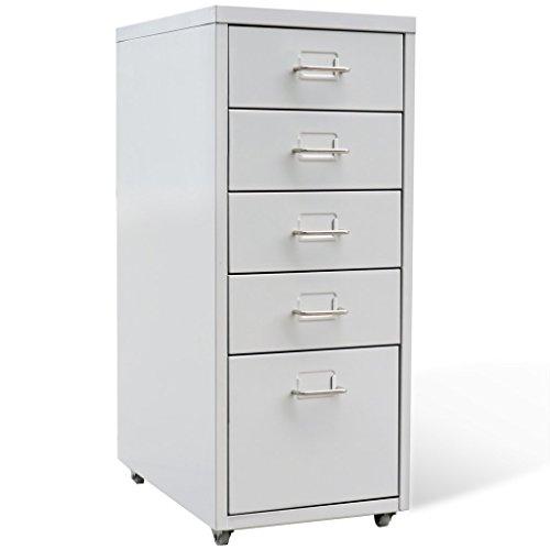 Festnight Stahl Schubladenschrank Büroschrank Schubladencontainer Bürocontainer mit 5 Schubladen 4 Rollen Grau