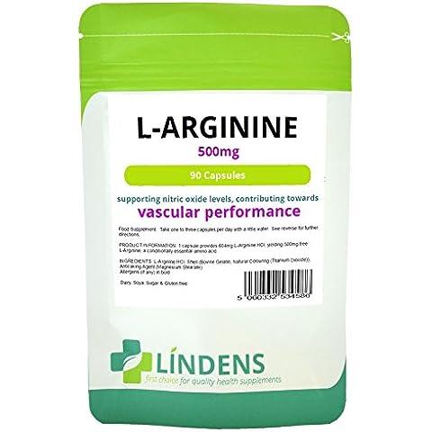 Lindens L-Arginina 500mg 3-PACQUETE 270 Cápsulas L arginina óxido nítrico Argi