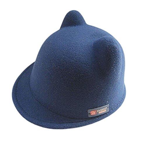 Oyedens Bambini Cappello in lana caldo Devil Lovely orecchie di gatto cappello a bombetta bianco Navy