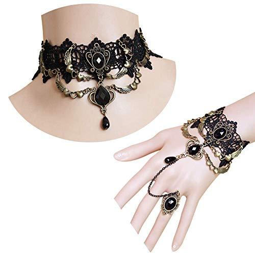 HuntBeauty Gargantilla gótica, Collar, Conjunto de Joyas para Mujer, Feliz Halloween