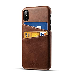 iPhone X Leather Case with Cards Holder Airart Premium Vintage Wallet Case, Ultra Slim Professional Executive Snap On Back Cover with 2 ID Credit Card Slots Holder for iPhone X