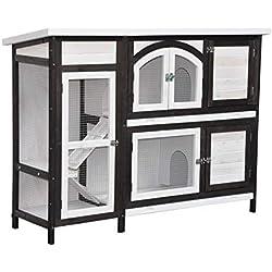 Clapier en Lapin spacieux/clapier Lapin extérieur Jumbo - imperméable - Deux etages - Nettoyage Facile - 145 x 48 x 109 cm - Marron/Blanc