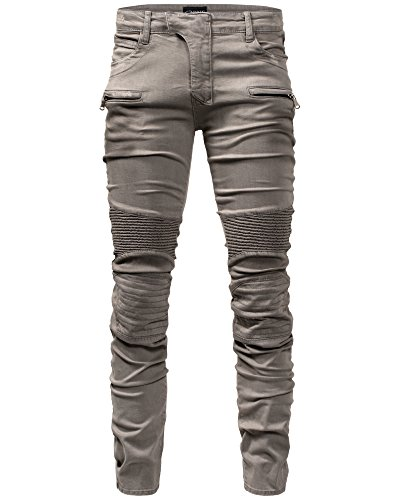 Crone Herren Biker Jeans Hose Slim Fit Limited Edition Vintage Used Look (33, Limited Edition) (Limited Edition-stoff)
