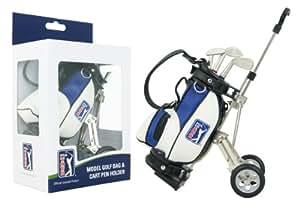 PGA TOUR Gadget Desktop Golftasche und Kugelschreiber Geschenkset, silber / weiß / blau