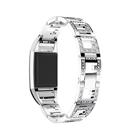 Y56 Uhrenarmband aus Edelstahl für Fitbit Charge 2 Ersatz Armband Band Armband Mode Luxus Uhr Armband Handgelenk Band Strap (Silber)