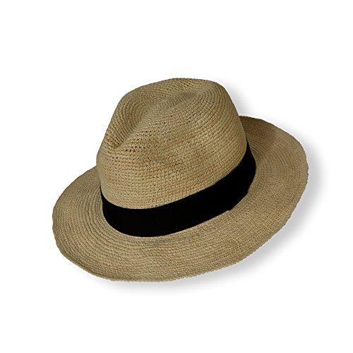 e66c0de8a99d7 Tumia - Crochet Straw Beach Hat - Natural with Black Band - 57cm