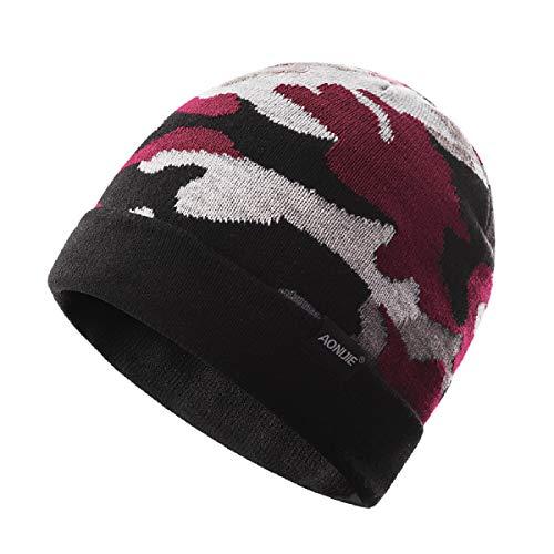 0a9bab77df17a TRIWONDER Winter Knit Beanie Skull Cap Wool Warm Slouchy Hat Reloj Sombrero  Hombres Mujeres (Rojo