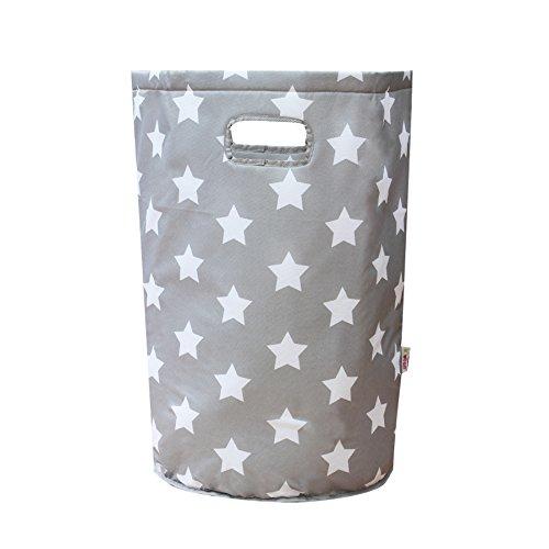 Minene–cesto portabiancheria borsa organizer (56x 37cm, grande, rotonda, grigio con stelle bianche)