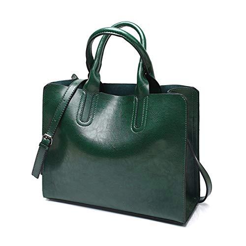Damen Handtaschen Umhängetasche Taschen Shopper Frauen Leder Vintage Tote Satchel Schultertasche Top Griff Geldbörse,Green