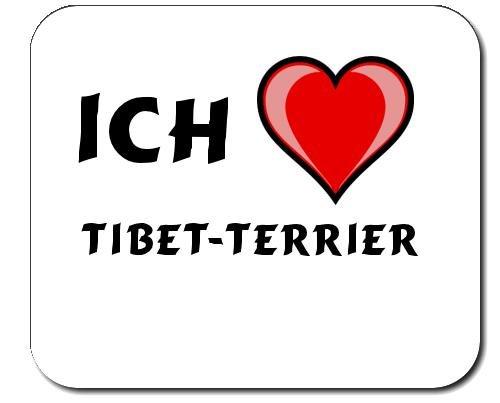 Mauspad mit Aufschrift Ich liebe Tibet-Terrier (Hunderasse) -