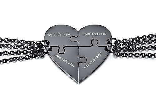 XUANPAI Personalisierte Maßgeschneiderte Edelstahl Passende Herzform Puzzle 4 Stück Anhänger Bester Freund Freundschaft Gravur Anhänger Halskette Schwarz Überzogen