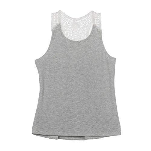 Tops, Yogogo Frau Sommer Spitzenweste Top Kurzarm Bluse Casual Tank Tops T-Shirt Grau