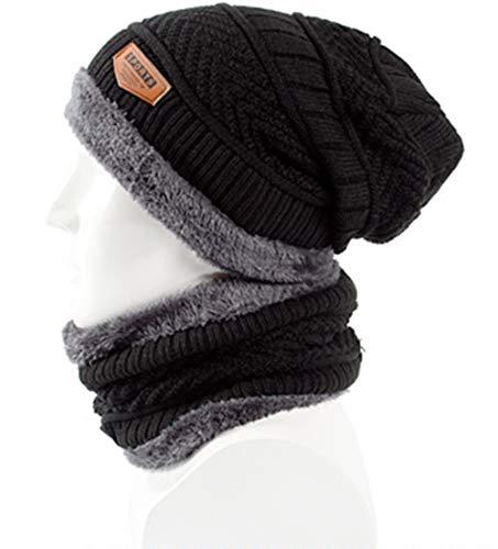 KILTYEN Männliche Und Weibliche Mütze Hut Schal Set Slouch Plus Samt Dicke Wolle Hut Kragen Warm Knit Warmer Für Winter ()