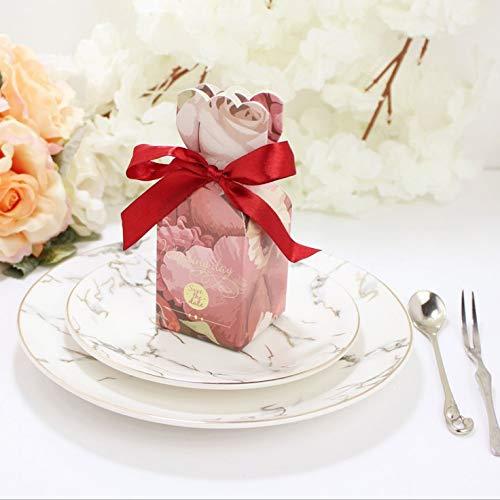 Flowow 50pcs stile vaso rosa scatola portaconfetti scatolina portariso bomboniera segnaposto per matrimonio compleanno battesimo comunione nascita natale