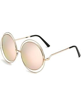 Dollger Damen Rund Übergroß Draht mit Rand Vollmetalle Sonnenbrille