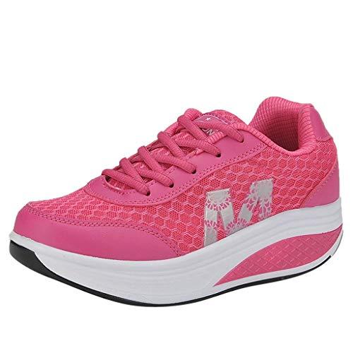 Zapatillas de Deportivos de Running para Muje riou Malla de Fondo Grueso Muffin Zapatos Transpirables Casuales Deporte Gimnasia Ligero Sneakers