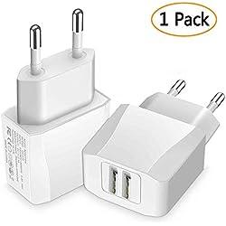 Chargeur Secteur USB, Luvfun 2-Port (5V/2.1A) Chargeur Adaptateur Chargeur Mural USB Universel avec - Blanc [Lot de 1]