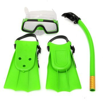 Generic Junior Children Snorkeling Set Snorkel Mask Goggles Flippers Scuba Swimming Diving Kids Set-Green