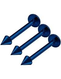 f1cd7509b32d BanaVega 3 Piezas de Acero quirúrgico Azul Oscuro labret Pendientes de 3 mm  de Calibre 14