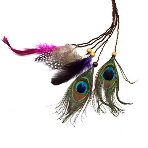 Lurrose Indische Feder Stirnband Quaste Hanfseil Haarband für Frauen Mädchen Kopfschmuck (braunes ()