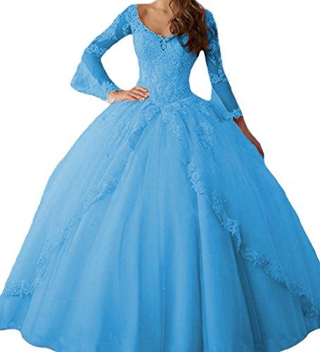 O.D.W Appliques Langarm Prinzessin Brautkleider Abendmode Lange Formales Party Ballkleider Süße 15 Quinceanera Kleider(Blau, 48)