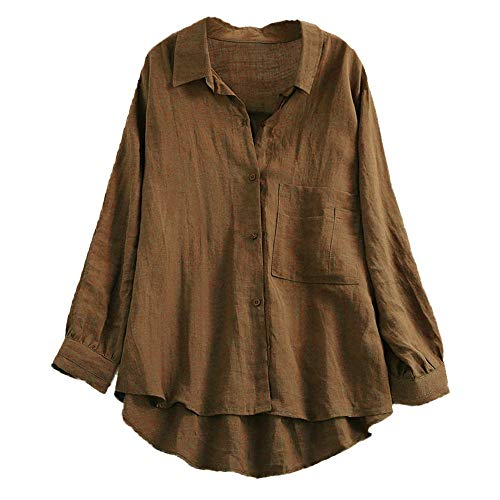 VEMOW Damen Herbst Frühling Sommer Elegante damen Stehkragen Langarm Casual Täglichen Party Strand Urlaub Lose Tunika Tops T-Shirt Bluse(X3-Kaffee, EU-40/CN-M)