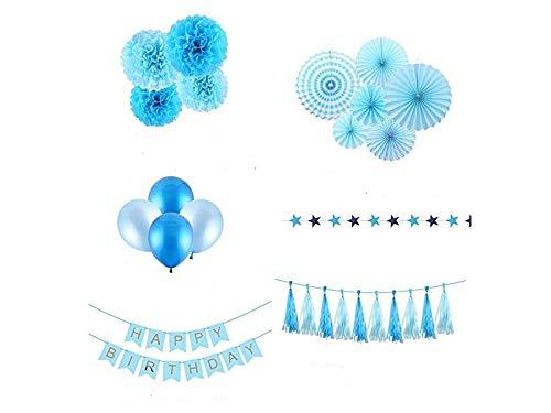 Dekoration Geburtstag Dekorationen alles Gute zum Geburtstag Wimpel Banner Papier Wabenbälle Latex Luftballons Papier Fans Set (blau) für Zuhause (Farbe : Blau)