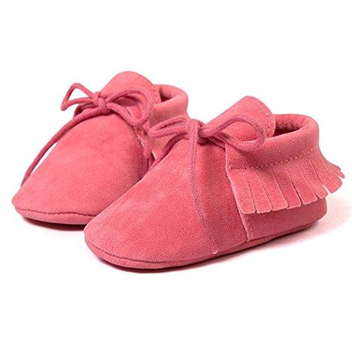 Hunpta Neue jungen Lauflernschuhe Baby Krippe Quasten Bandage weiche Sohle Schuhe Sneakers Casual Babyschuhe (11, Khaki) Watermelon Red