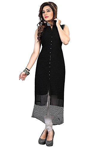 Manorath Women's Cotton Silk Kurti(1095-Black Chex_Free Size)