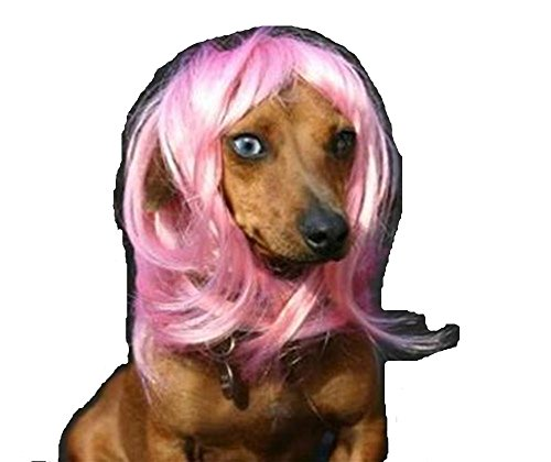 Pet Wigs Christmas Halloween Costumes Funny Puppy Long Hair Wigs ( Pink)