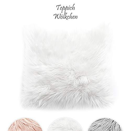 Teppich Wölkchen Kissen Kunstfell Schaffell Lammfell | Mit herausnehmbarer Füllung | Wohnzimmer Schlafzimmer Kinderzimmer | Für Couch Stuhl Sofa (Weiß - 45 x 45 cm) -