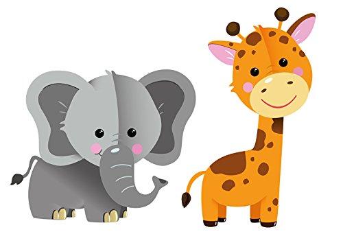 Süßes Elefanten & Giraffen Set (200x200mm), zu 100% PVC-freie Wandsticker, Wandfiguren, zur Dekoration von Kinderzimmer