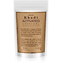 Pure Nature Khadi Activated charcoal natural face pack and teeth whiting powder - 100gm (For external use only)