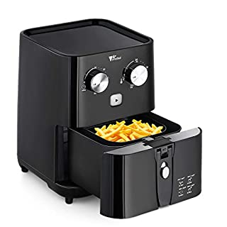 Air Fryer - Amzdeal Mini Air Fryer 1.5L No Oil Compact Airfryer with Timer and Temperature Control, Non Stick Basket, BPA Free, Black