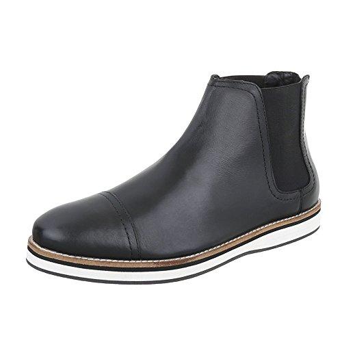 Ital-Design Stiefeletten Leder Herren-Schuhe Chelsea Boots Moderne Reißverschluss Boots Schwarz, Gr 42, 220972-
